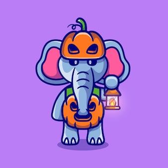 ハロウィンのカボチャの衣装を着たかわいい象