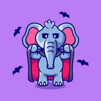 吸血鬼のハロウィーンの衣装を着てかわいい象