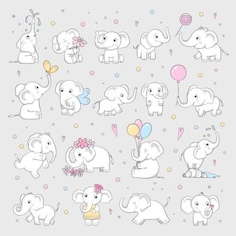 귀여운 코끼리. 다양 한 포즈의 야생 동물 매력적인 캐릭터 벡터 만화 그려진된 스케치. 트렁크, 다른 포즈 마스코트 일러스트와 함께 사랑스러운 코끼리