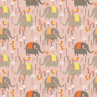 Cute elephant in wild flower field seamless pattern.