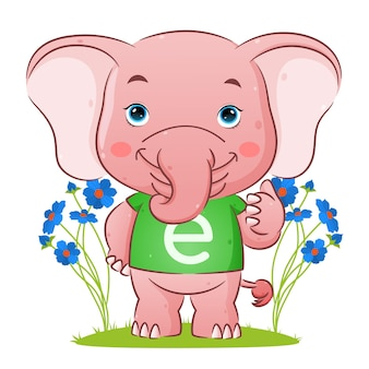 The cute elephant with the alphabet shirt is giving the thumb up   illustration