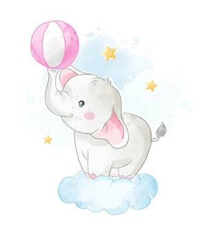 Cute elephant with ball on a cloud illustration