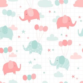 Cute elephant with balloon cartoon doodle seamless pattern