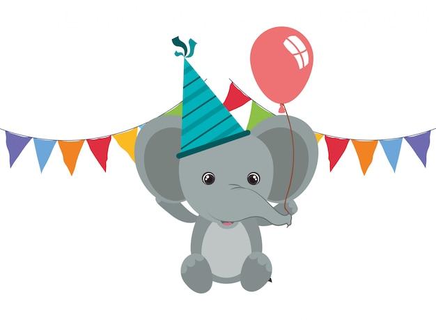Милый слон с воздушным шариком гелия