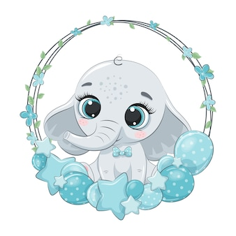 Cute elephant with balloon and wreath. illustration for baby shower.