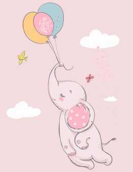 Cute elephant with balloons and bird. vector illustration