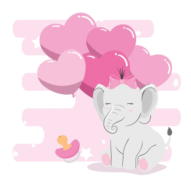 Cute elephant with balloons helium in shape heart
