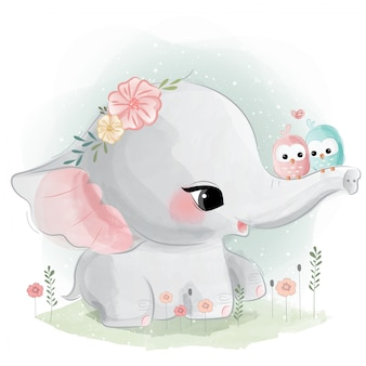 Cute elephant with birds on his trunk Premium Vector