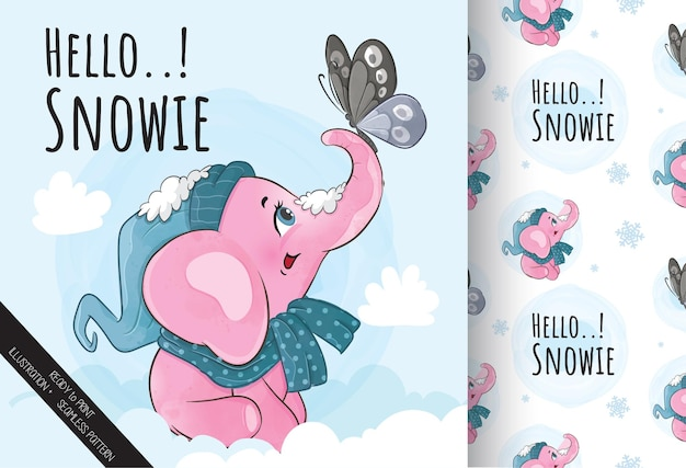 Cute elephant with butterfly on the snow illustration - illustration of background