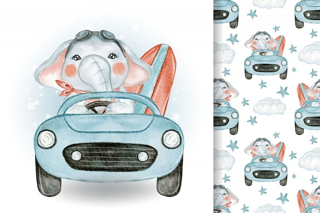 Милый слон с автомобилем летняя иллюстрация акварель и узор