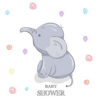 Cute elephant with cartoon hand drawn