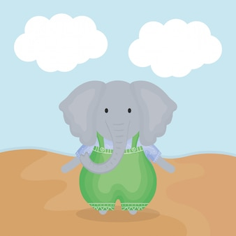 Cute elephant with clothes character