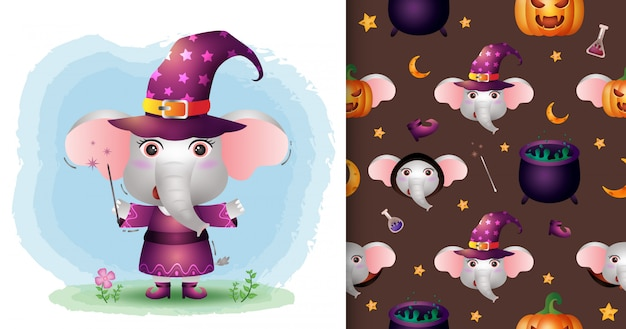 A cute elephant with costume halloween character collection. seamless pattern and illustration designs