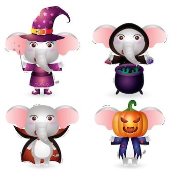Симпатичный слон в костюме коллекции персонажей хэллоуина