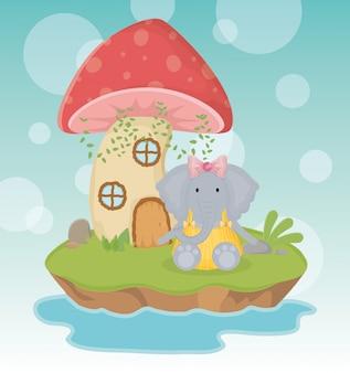 Cute elephant with dress and mushroom house fantasy fairy tale