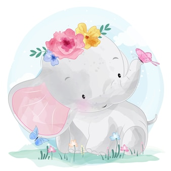 Cute elephant with flower