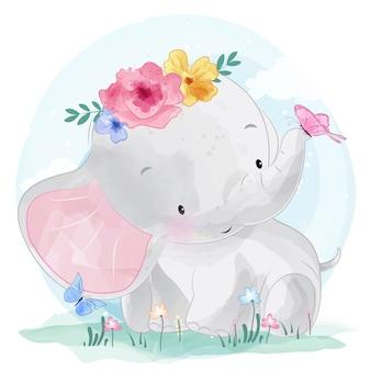 꽃과 귀여운 코끼리