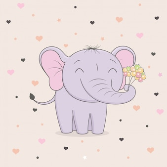 Cute elephant with flowers on background of hearts.