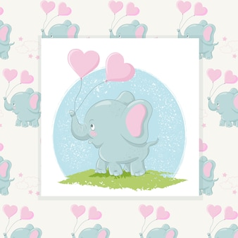 Cute elephant with hearts balloons and pattern