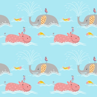 Cute elephant with hippo seamless pattern.
