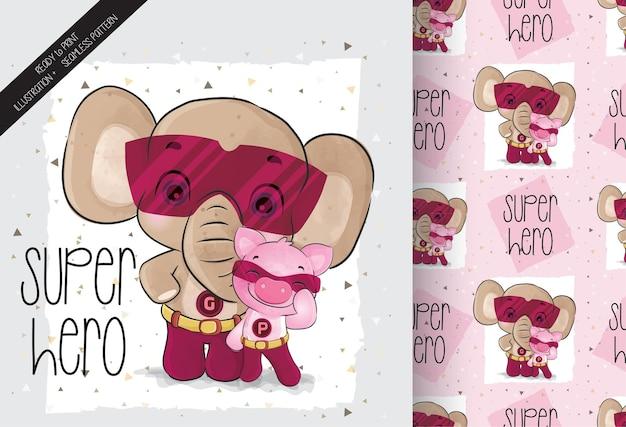 小さなブタのスーパーヒーローのキャラクターのシームレスなパターンを持つかわいい象
