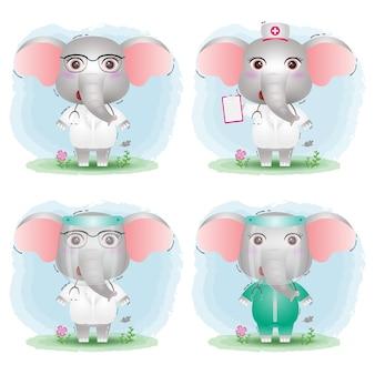 의료진 팀 의사와 간호사 의상 컬렉션과 귀여운 코끼리