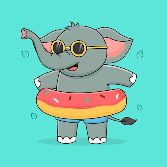 Cute elephant with swim ring  and sunglasses