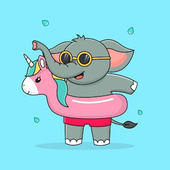 Cute elephant with swim ring unicorn and sunglasses