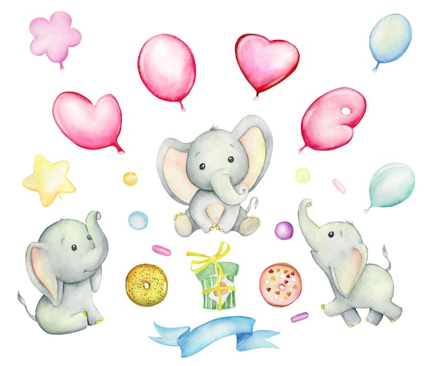 Cute elephants, balloons, donuts, gift, ribbon. watercolor set, on an isolated background.