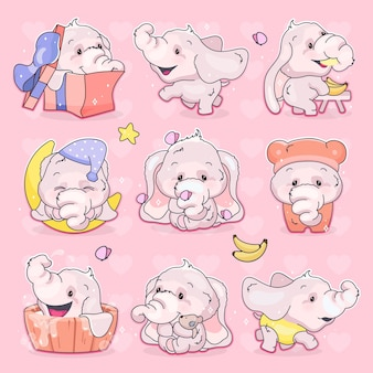 かわいい象のかわいい漫画のキャラクターセット。愛らしい面白い動物のさまざまなポーズや感情の孤立したステッカー、パッチ。ピンクの背景にアニメの女の赤ちゃん象の絵文字
