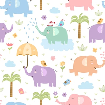 Cute elephants seamless pattern.