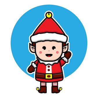 Cute elf cartoon character illustration christmas vector concept