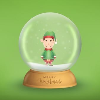 明るい緑の背景に現実的な雪の世界のかわいいエルフのキャラクターのイラスト