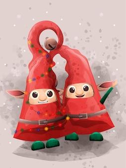Cute elf in christmas day.