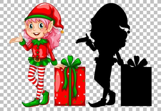 Elfo carino accanto alla confezione regalo