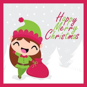 Santa workshop vectors photos and psd files free download cute elf girl brings xmas bag gift m4hsunfo