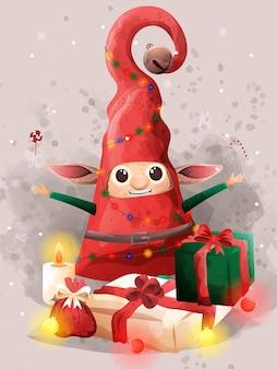 かわいいエルフの最高の贈り物クリスマスイブの祝福。