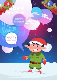 Cute elf greeting with merry christmas and happy new year holiday card
