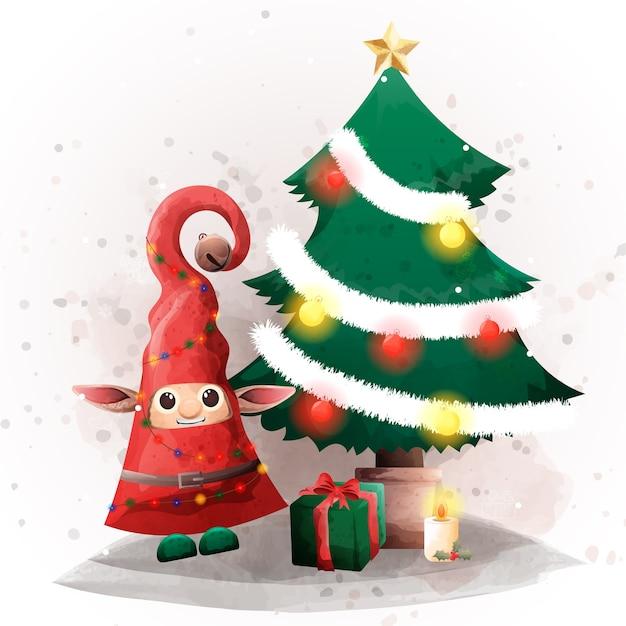 祝福の時間とクリスマスイブの日にかわいいエルフ。