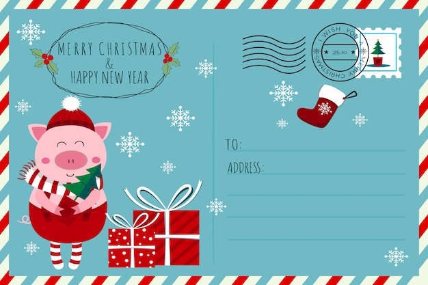 Cute elf piglet christmas and new year postcard