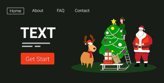 귀여운 엘프 산타와 사슴 전나무 나무 근처에 함께 서 메리 크리스마스 새 해 복 많이 받으세요 휴일 축 하 개념 방문 페이지