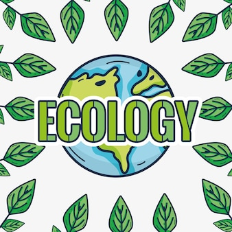 Cute emblem of earth planet ecology