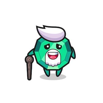 Cute emerald gemstone grandpa is holding a stick , cute style design for t shirt, sticker, logo element