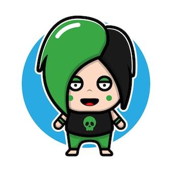 Cute emo boys cartoon character design