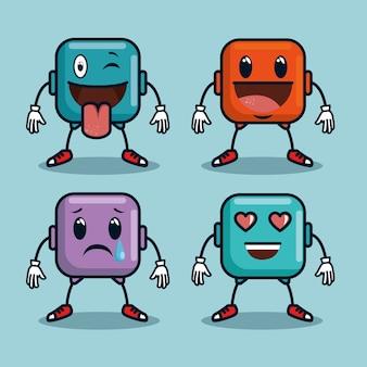 Cute emoji emoticons emotional faces icons
