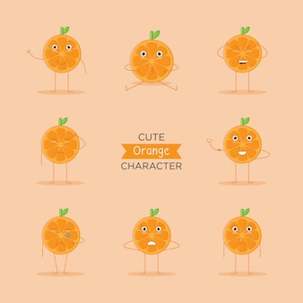Cute emoji, orange fruit character logo and icon with flat style