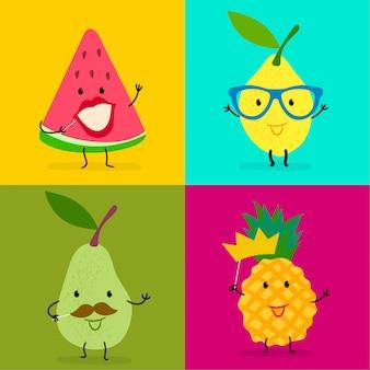 Cute emoji set of funny fruits