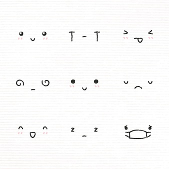 Cute emoticon design element  with diverse feelings in doodle style set