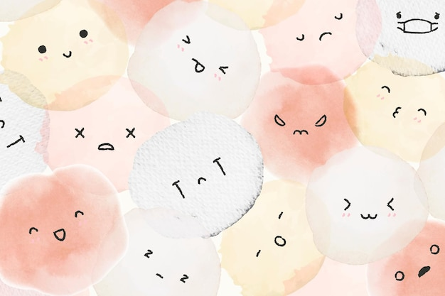 Cute emoticons background vector with diverse feelings in doodle style