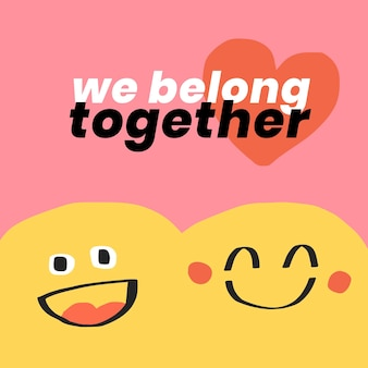Cute emoticons editable template vector with quote social media post